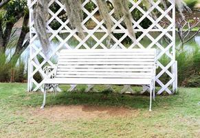 White bench outside