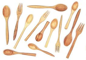 plano de utensilios de madera foto