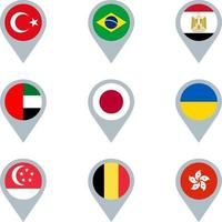 Set of map markers with flags