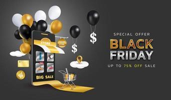 Banner de venta de viernes negro o promoción sobre fondo oscuro. tienda de compras online con móvil, tarjetas de crédito y elementos de tienda. ilustración vectorial.