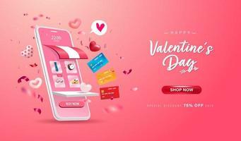 Feliz día de San Valentín. tienda de compras en línea en sitio web y teléfono móvil