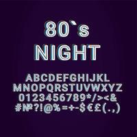 años ochenta, noche, vendimia, 3d, vector, alfabeto, conjunto vector