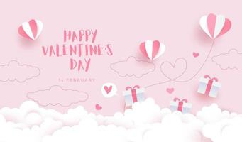 Happy Valentine's day background, card invitation with paper cut style sky vector
