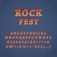Rock fest vintage 3d vector alphabet set