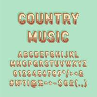 Country music vintage 3d vector alphabet set