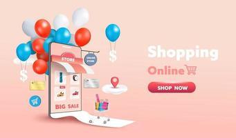 tienda de compras en línea en el diseño de sitios web y teléfonos móviles. concepto de marketing empresarial inteligente. vista horizontal. ilustración vectorial.