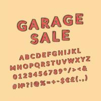 venta de garaje, encabezado, vendimia, 3d, vector, alfabeto, conjunto