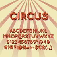 circo, vendimia, 3d, vector, alfabeto, conjunto