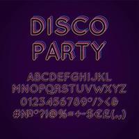 fiesta disco, vendimia, 3d, vector, alfabeto, conjunto