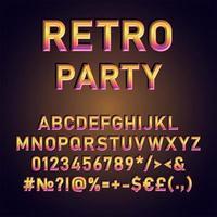 fiesta retro, vendimia, 3d, vector, alfabeto, conjunto