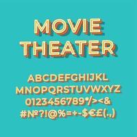 cine, vendimia, 3d, vector, alfabeto, conjunto vector