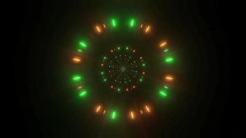 Partículas de néon brilhantes em verde e laranja