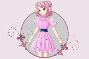 Girl with short pink hair wearing a pink dress