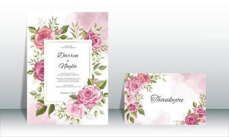 hermoso conjunto de plantillas de tarjeta de invitación de boda vector