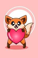 A little cute and funny baby fox with a big heart cartoon illustration vector