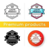 Luxury product icon. Linear black and RGB color styles. Brand exclusiveness, prestigious status. Luxurious premium goods badge with crown and banner ribbon isolated vector illustrations