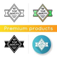 Top quality icon. Linear black and RGB color styles. Premium product and high class service. Brand equity, VIP status. Diamond shaped superior goods badge isolated vector illustrations