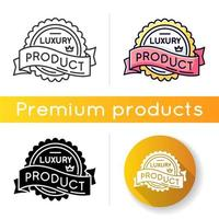 Luxury product icon. Linear black and RGB color styles. Brand equity, superior status. Expensive premium quality goods badge with crown and banner ribbon isolated vector illustrations