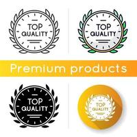 Top quality icon. Linear black and RGB color styles. High quality product guarantee. Company brand equity, exclusive status. Expensive premium goods emblem isolated vector illustrations