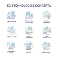5G technologies concept icons set. Global coverage. High-speed connection idea thin line illustrations. Mobile internet. Wireless technology. Vector isolated outline drawings. Editable stroke