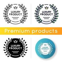 Luxury product icon. Linear black and RGB color styles. Brand equity, prestigious company status. Premium product emblem with laurel wreath and crown isolated vector illustrations