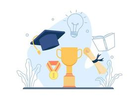 Trophy, graduation cap and graduation roll design vector