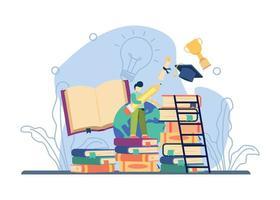 Education ladder concept vector