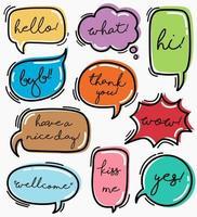 Hand drawn set speech bubbles with handwritten text. vector