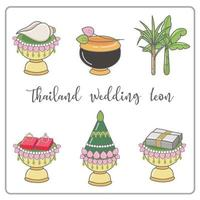Conjunto de iconos tailandeses de línea de tiempo de boda. icono de ceremonia de boda de Tailandia. vector