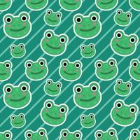 cute frog head seamless pattern illustration vector