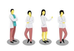 conjunto de ilustración profesional médico de diseño plano
