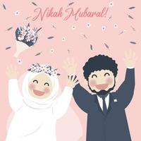cute muslim couple celebrate nikah, nikah mubarak greeting vector