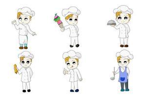 Chef six bundle version anime chi-bi set vector