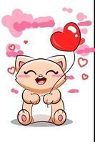 lindo y feliz gato con ilustración de dibujos animados de globo de corazón