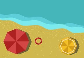 Vista superior de la ilustración de vector de vacaciones de verano de playa