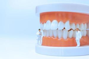 Figuras en miniatura de dentistas observando y discutiendo dientes humanos.