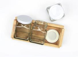 Glass jars in tray
