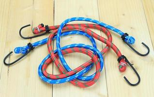 Red and blue bungee cords