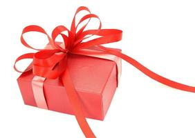 Red gift box with bow photo