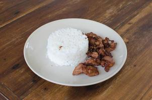 Fried pork with white rice