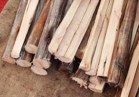 Firewood pile on cloth photo