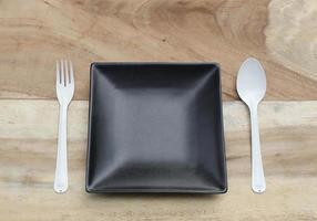 Black plate and silverware photo