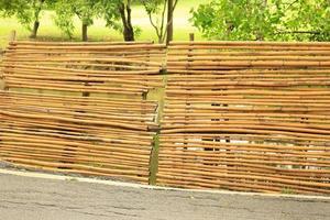valla de bambú en el jardín