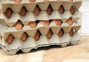 Stack of eggs in crates photo