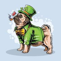 St. Patrick's Day cute pug smokes a cigar vector