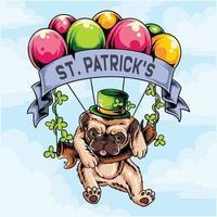 S t. perro pug del día de patrick volando con ramo de globos vector