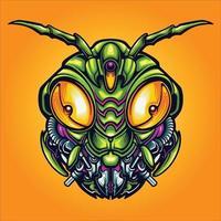 Robot Grasshopper Head Cyber Vector Illustration