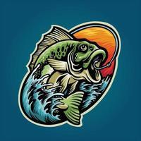 diseño gráfico de verano de mascota de pesca de lubina