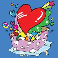 The heart and gift box cartoon style vector image