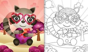 libro para colorear para niños con un lindo mapache abrazando corazón para el día de san valentín vector